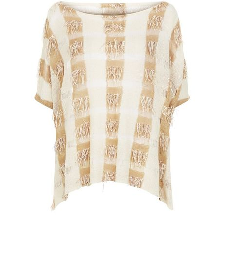 Apricot Stone Check Fringed Top | New Look