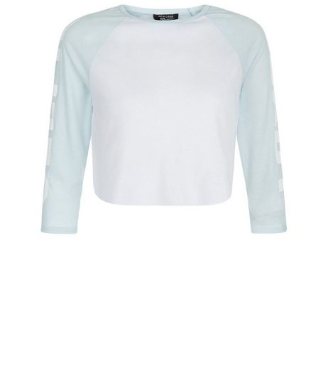 Teens Blue Selfie Ready Sleeve Raglan Top | New Look