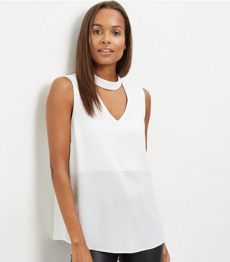 White Cut Out Funnel Neck Sleeveless Top  | New Look
