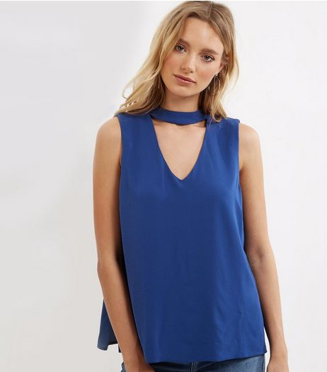 Blue Choker Neck Cut Out Sleeveless Top  | New Look