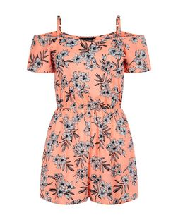 Teens Orange Tropical Print Cold Shoulder Playsuit | New Look