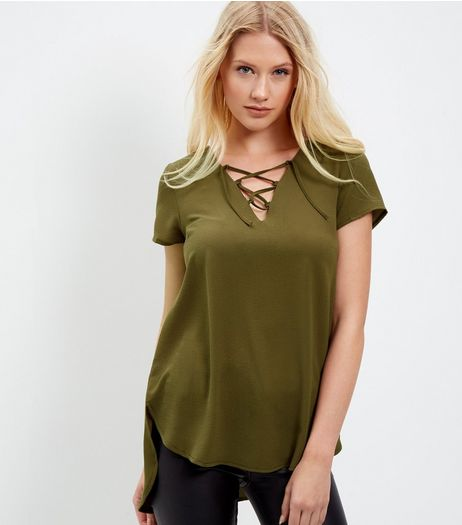 Khaki Lace Up T-Shirt  | New Look