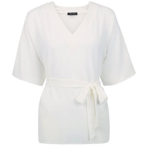 Cream Wide Sleeve Belted Top | New Look