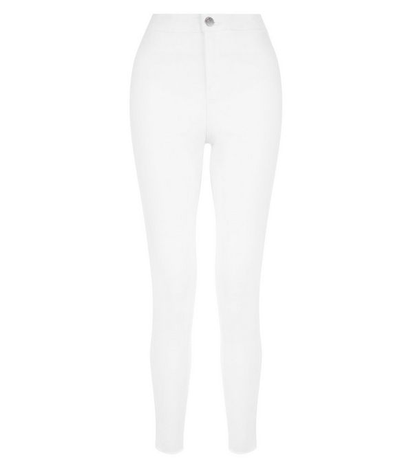 White High Waist Super Skinny Fray Hem Jeans