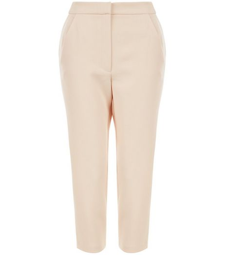 Petite Shell Pink Contrast Stripe Side Trousers  | New Look