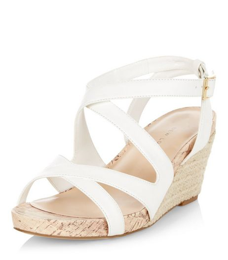 Wide Fit White Cross Strap Espadrille Wedges  | New Look