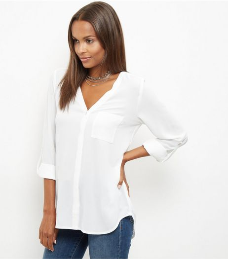 White V Neck 3/4 Sleeve Shirt | New Look