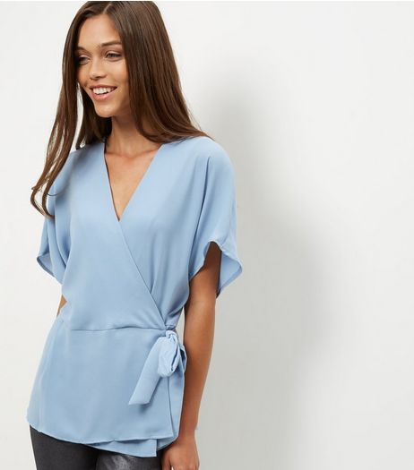 Blue Wrap Tie Side Top | New Look