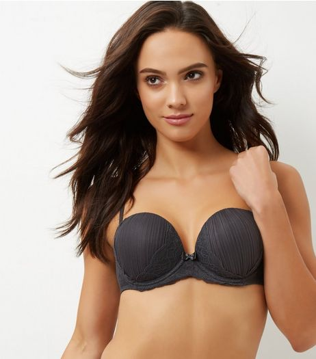 Dark Grey Pleated Mesh Lace Trim Boost Bra  | New Look