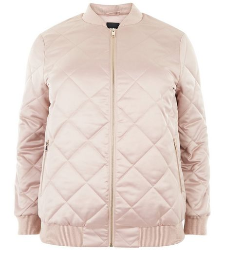Curves Pink Quilted Bomber Jacket | New Look