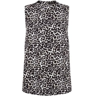 Black Animal Print Cut Out Back Funnel Neck Top