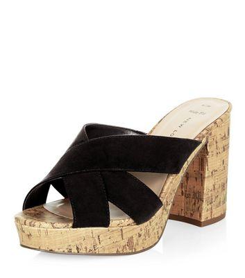 Sandalo  donna Wide Fit Black Cross Strap Contrast Cork Block Heel Mules