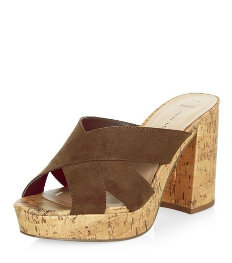 Wide Fit Khaki Cross Strap Contrast Cork Block Heel Mules  | New Look