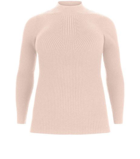 Curves Pink Ribbed Funnel Neck Jumper  | New Look