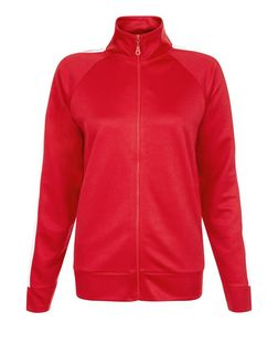 Red Stripe Side Zip Up Long Sleeve Top | New Look