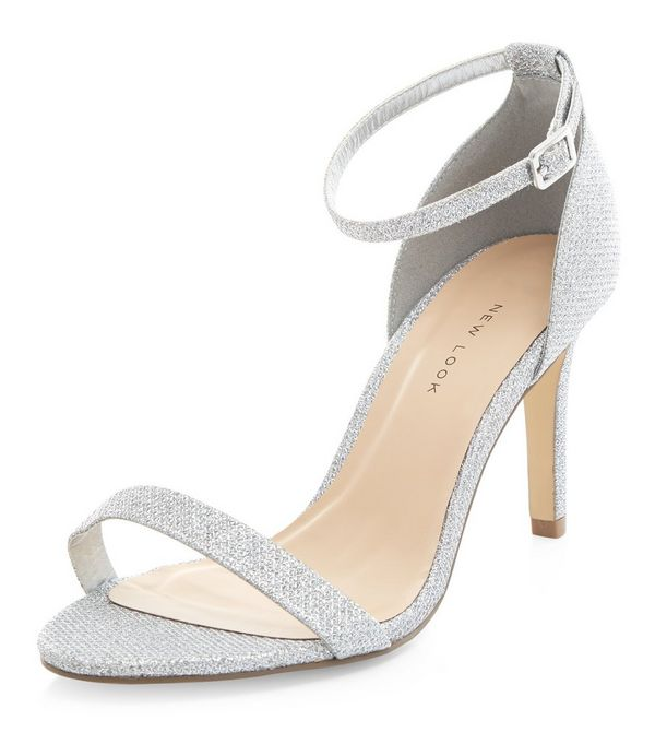 Wide Fit Silver Shimmer Ankle Strap Heels