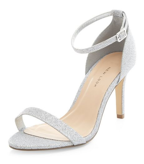 Wide Fit Silver Shimmer Ankle Strap Heels  | New Look