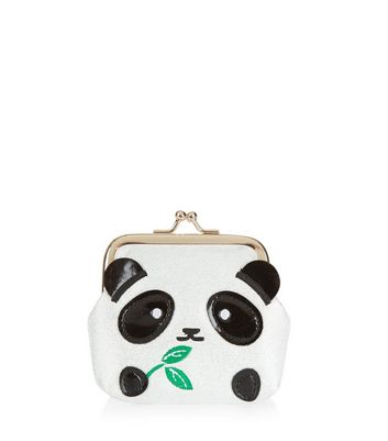 White Panda Clip Top Coin Purse