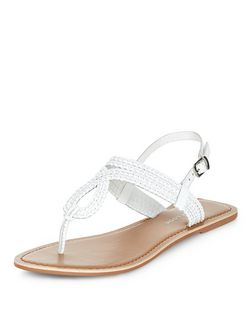 Wide Fit White Leather Woven Sandals | New Look