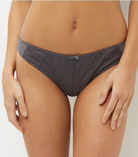 Dark Grey Mesh And Lace Thong | New Look