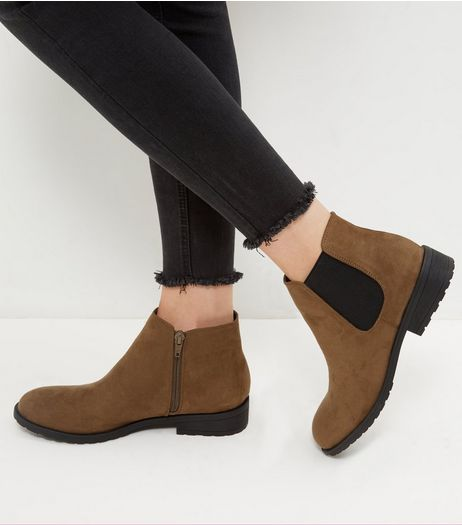 Wide Fit Khaki Suedette Chelsea Boots | New Look