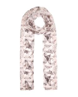 Pink Butterfly Print Skinny Scarf | New Look