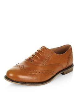 Tan Leather Embossed Brogues | New Look