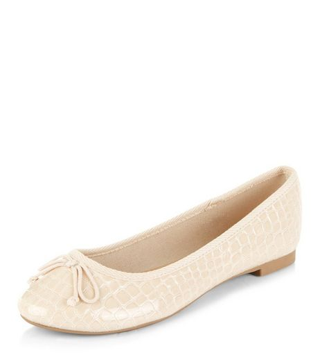 Cream Croc Textured Ballet Pumps | New Look