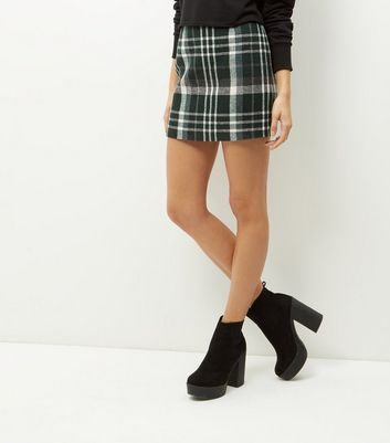 Green Check Print Mini Skirt