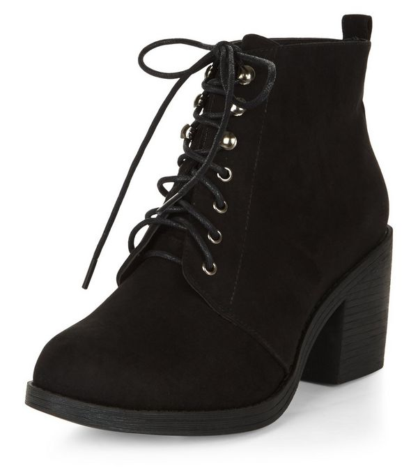 Wide Fit Black Suedette Lace Up Block Heel Ankle Boots