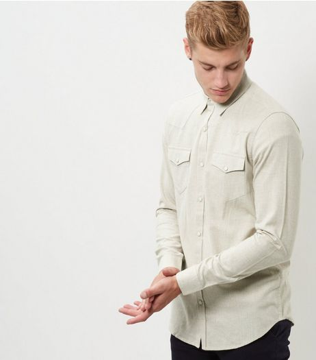 Stone Long Sleeve Shirt | New Look