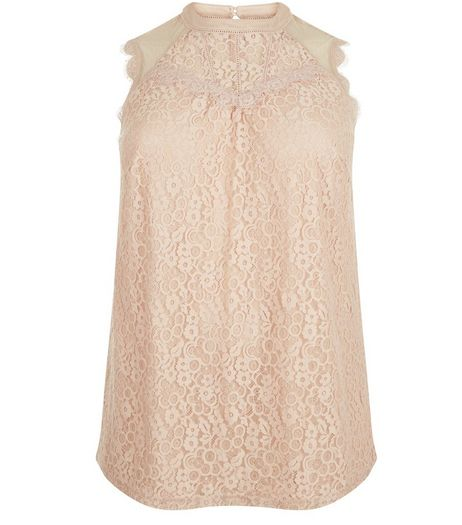 Curves Shell Pink Lace Sleeveless High Neck Top | New Look