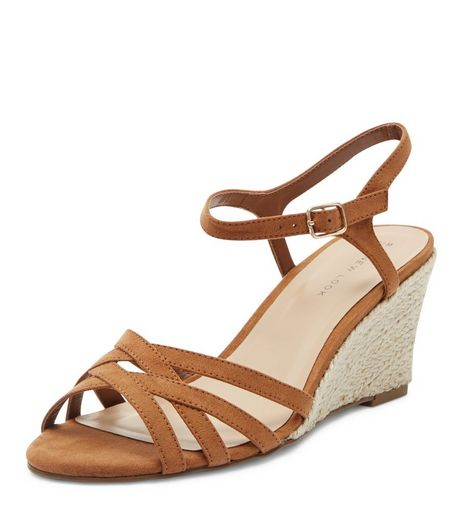 Tan Cross Strap Espadrille Wedges  | New Look