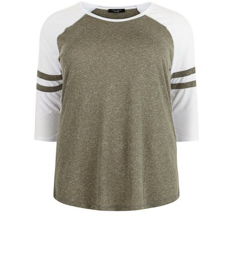 Curves Khaki Raglan Stripe Sleeve Top | New Look