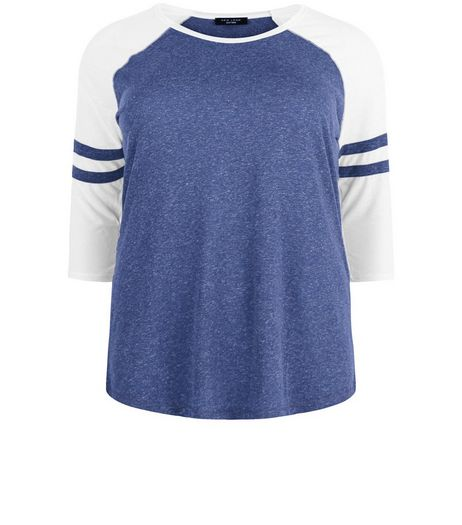 Curves Blue Stripe Raglan Stripe Sleeve Top | New Look
