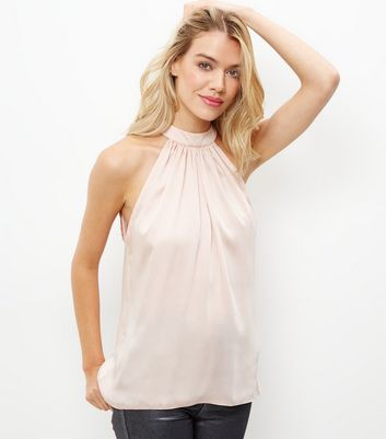 Shell Pink Sateen Halter Neck Vest