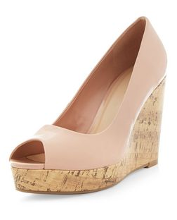 Nude Patent Peep Toe Wedge Sandals  | New Look