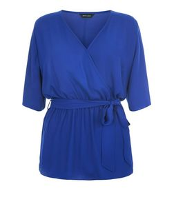 Blue Belted Wrap 1/2 Sleeve Top | New Look
