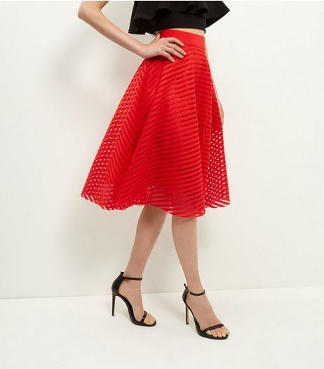 Red Mesh Stripe Midi Skater Skirt | New Look