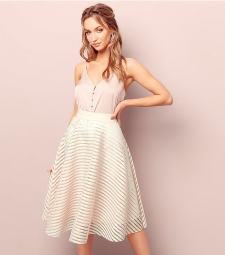 Shell Pink Mesh Stripe Midi Skater Skirt  | New Look