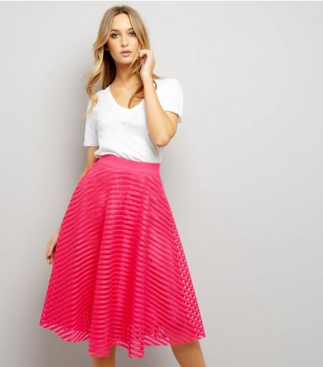 Bright Pink Mesh Stripe Midi Skirt | New Look