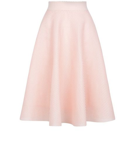 Shell Pink Airtex Balloon Midi Skirt | New Look