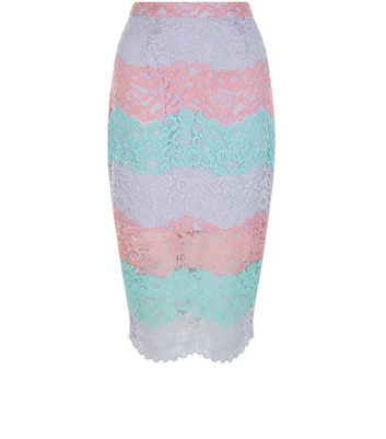Multicoloured Stripe Lace Split Hem Pencil Skirt