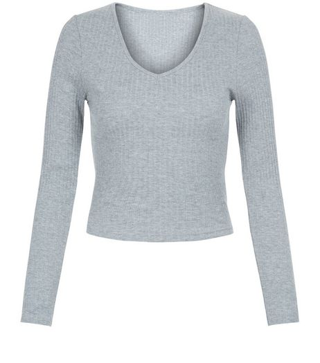 Teens Grey V Neck Long Sleeve Top | New Look