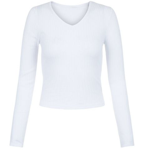 Teens White V Neck Long Sleeve Top | New Look