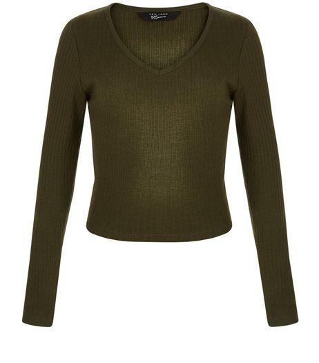 Teens Khaki Ribbed Long Sleeve Top | New Look