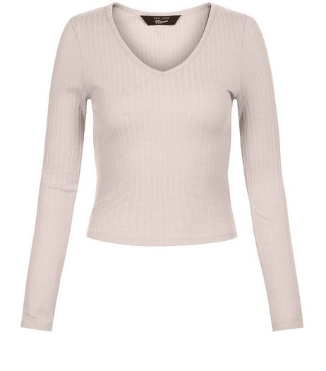 Teens Shell Pink Ribbed V Neck Long Sleeve Top | New Look