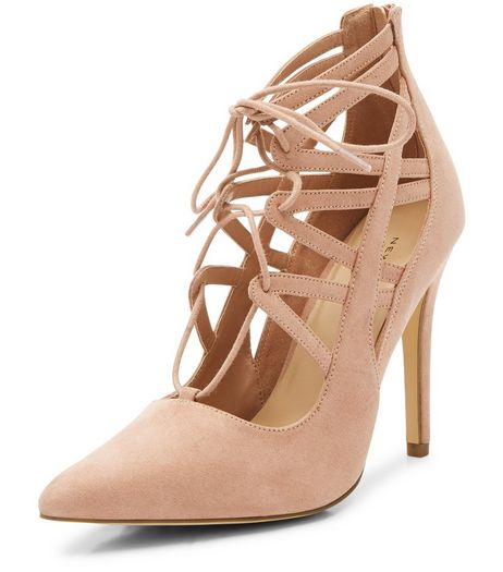 Pink Suedette Multi Strap Ghillie Heels  | New Look