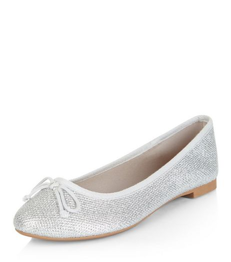 Silver Textured Ballet Pumps | New Look