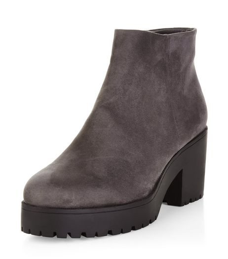 Wide Fit Grey Suedette Chunky Ankle Boots  | New Look